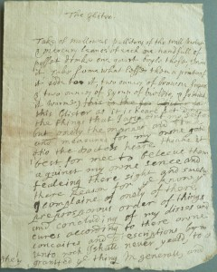 Figure 2a 'The Glister' Devon Record Office, 200 recipes - mainly concerned with ague, plague, rickets, gout and worms. Boscawen, 1688-1687, Fortescue 1262M/FC/8. Courtesy of the Countess of Arran (Fortescue Papers).