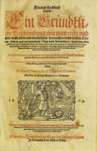 Title page of 1604 edition of Marx Rumpolt cookbook. Sächsische Landesbibliothek - Staats- und Universitätsbibliothek Dresden, http://digital.slub-dresden.de/id313700877.