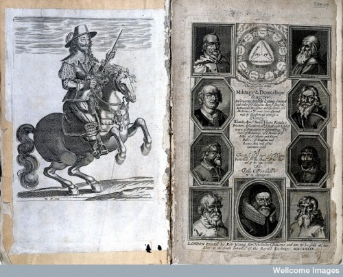 Equestrian portrait of Charles I and title page of the second edition of the Surgeon's Mate (1639). Woodall's is the center portrait at the bottom. Source: Wellcome Images.