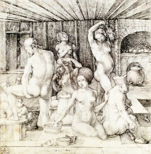 "Albrecht Durer, ""Woman's Bath"" dated 1496 Although Durer's image is dated before the closing of the public bathhouses, we see several different sorts of bathing practices occurring in this image. Beginning at the top right corner, the standing woman carries aromatic herbs. Behind her we see water being heated for the bath. The women clean themselves before entering the large, recessed communal pool at the far right. Moving clockwise, we see an elderly woman whose feet are in the public bath and she is receiving a ""petty bath"" by the centrally located woman in a headdress. In front of the central woman, we see an ointment jar, a sponge, and a lathering brush. To her left, we see another woman cleaning her genitals (probably with a sponge) as two younger children await their baths. A peeping Tom looks through the doors. One woman combs her hair and another scratches at her dry skin. Unlike many other Renaissance representations of women bathing (often classical scenes such as Diana and Acteon or Biblical scenes such as Susanna and the Elders or Bathsheba), this scene does not seem particularly erotic, but instead captures a realistic rendering of different women (with decidedly different body types) cleansing themselves."