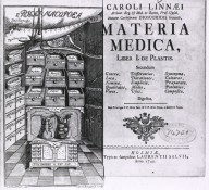[Pharmacy: Illustration of pharmaceutical chest] Carl Linnaeus, Materia medica, Liber I. De plantis (Holmiae - Laurentii Salvii, 1749, title page & frontis). Courtesy of the National Library of Medicine.