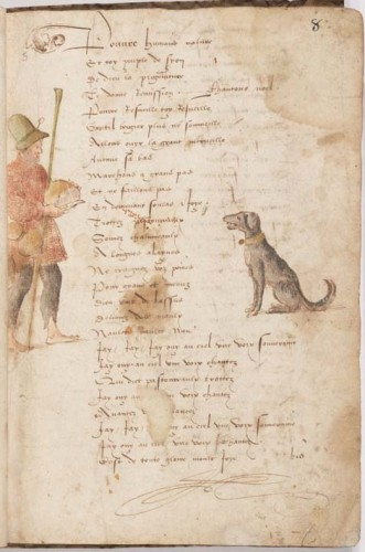 Image of a man feeding a dog with bread (according to the library catalogue), with unidentified stains. French manuscript of Christmas carols, early sixteenth century. Free Library of Philadelphia, MS Lewis E 211, f. 8r.