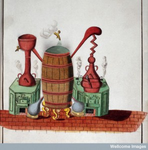 Alchemical apparatus, fifth water colour of ten, 1782. Credit: Wellcome Library, London.