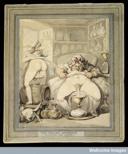 Fortunately, none of the remedies I looked at used this as an ingredient! Thomas Rowlandson, A Village Doctress Distilling Eyewater, 1800. Image Credit: Wellcome Library, London.