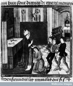 Bishop exorcising possessed men, 15th century. Image credit: Wellcome Library, London.