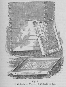 "Glass frames used in the process of ""enfleurage."" From ""Perfumery, Perfumes,"" Chambers's Encyclopaedia, Volume VI (New York: Collier, 1888) 165."