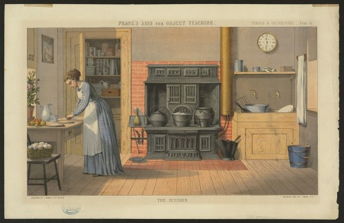 """Prang's aids for object teaching--The kitchen"" (Boston : L. Prang & Co., c1874). Lithograph. Library of Congress."