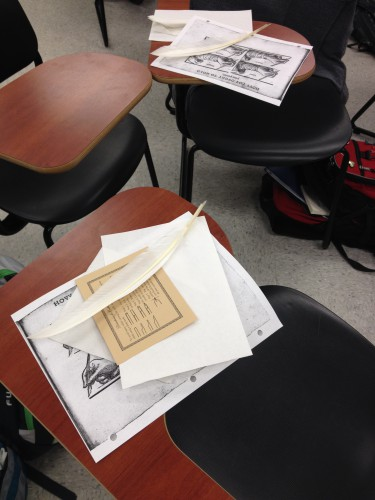 Pen and Ink Lab in HIST 488 at Christopher Newport University. Photo by the author.