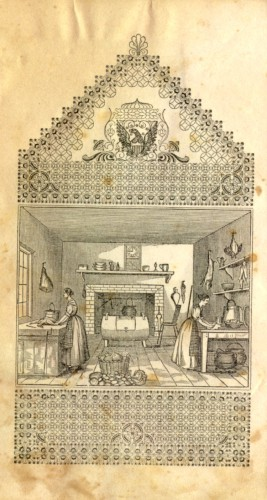Frontispiece showing two women working in a kitchen. Mrs. E.A. Howland, The American Economical Housekeeper and Family Receipt Book (Cincinnati: H.W. Derby & Co., 1845)