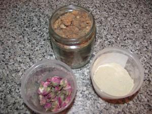 Dired rose, myrrh, orris (iris) root:  the three ingredients in my 'Greek' deodorant