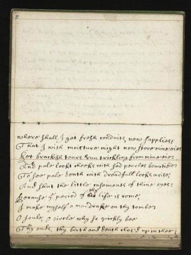 Bridget Parker,  'Quotation from John Donne in Wellcome Library MS.3768, f.77v'