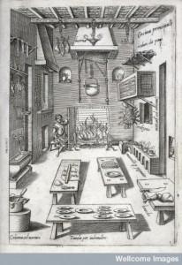 L0023705 Credit: Wellcome Library, London. A kitchen. From: Bartolomeo Scappi. Opera di M. Bartolomeo Scappi. Tramezzino, Venice 1570, Table 2. © Wellcome Images