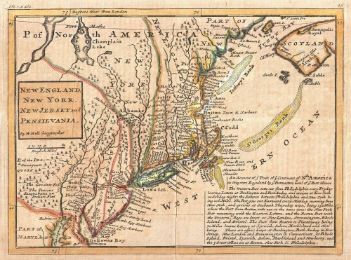"The Herrman Moll Map (or the ""Post Map""), Map of New England and the adjacent colonies, c. 1729."