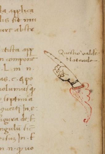Manicule from Pseudo-Lull, Liber de secretis naturae seu de quinta essentia (Venice, 1498), Othmer Manuscript 4