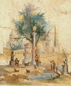A bucolic scene featuring a walled garden, Red Room, Villa of Agrippa Postumus, Boscoreale