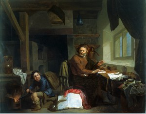 An alchemist making gold. Oil painting by Hendrik Heerschop. The Wellcome Library, London
