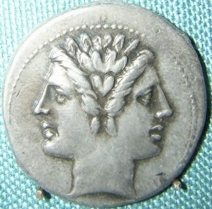 A Roman coin showing the god Janus. Source: http://www.livius.org/ja-jn/janus/janus.html