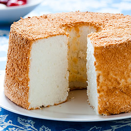 """""""The Best Angel Food Cake"""" from America's Test Kitchen. The ingredients and method for producing this cake from scratch are little changed from the nineteenth century original."""