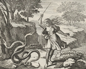 Tiresias, apparently not yet aware of having become a woman, beats up a pair of frisky snakes. Woodcut illustration, 1690 CE. Source: https://commons.wikimedia.org/wiki/File:Tiresias_striking_the_snakes.png