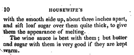 Snowballs, The Frugal Housewife's Manual (p. 9-10)