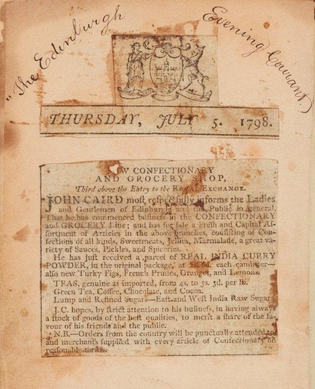 Press cutting from the Edinburgh Evening Courant, 5th July 1798, pasted into John Caird's,The Complete Confectioner, Leith, 1809, Maca.92.