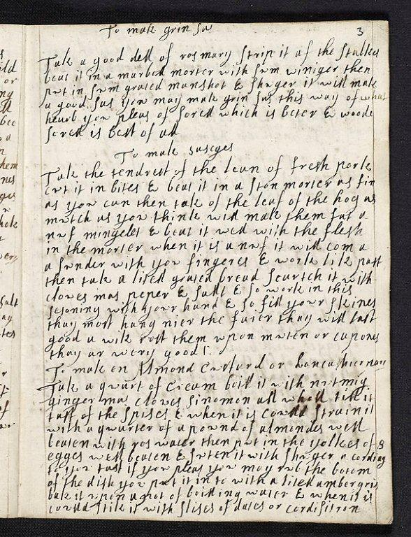 Recipe book of Katherine Bruce, Lady Saltoun, dated 1688, from the Fletcher of Saltoun Papers, NLS, MS.17854