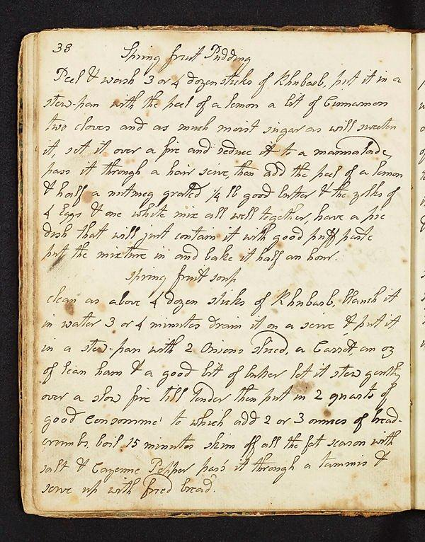 Page from Stephana Malcolm's recipe book begun in 1790, Acc.10708/3