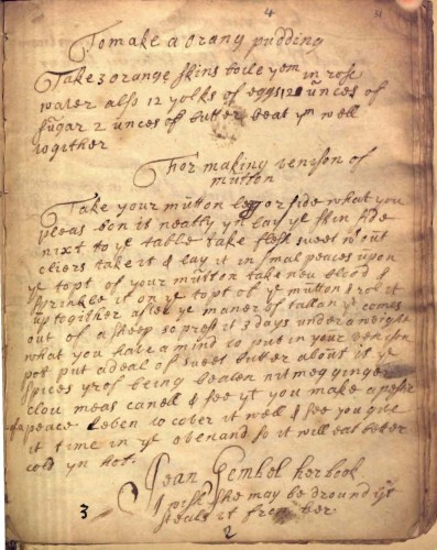 "Page from ""Gemel Book of Recipes : manuscript, circa 1660-1700,"" New York Academy of Medicine. Curse on bottom of page: Jean Gembel [Gemel] her book / I wish she may be drouned yt steals it from her."