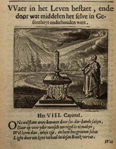 "An engraving and the beginning of a poem by Cats, illustrating the chapter ""What life consists of and by what means it is maintained in health"". Johan van Beverwijck, Schat der Gesont heyt (Amsterdam 1643) p. 60."