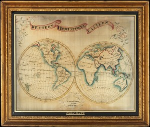 Polly Platt, Map sampler (1809), Made in Dutchess County, Pleasant Valley, New York, United States, Purchase, Frank P. Stetz Bequest, in loving memory of David Stewart Hull, 2012, 2012.64, Courtesy of The Metropolitan Museum of Art.