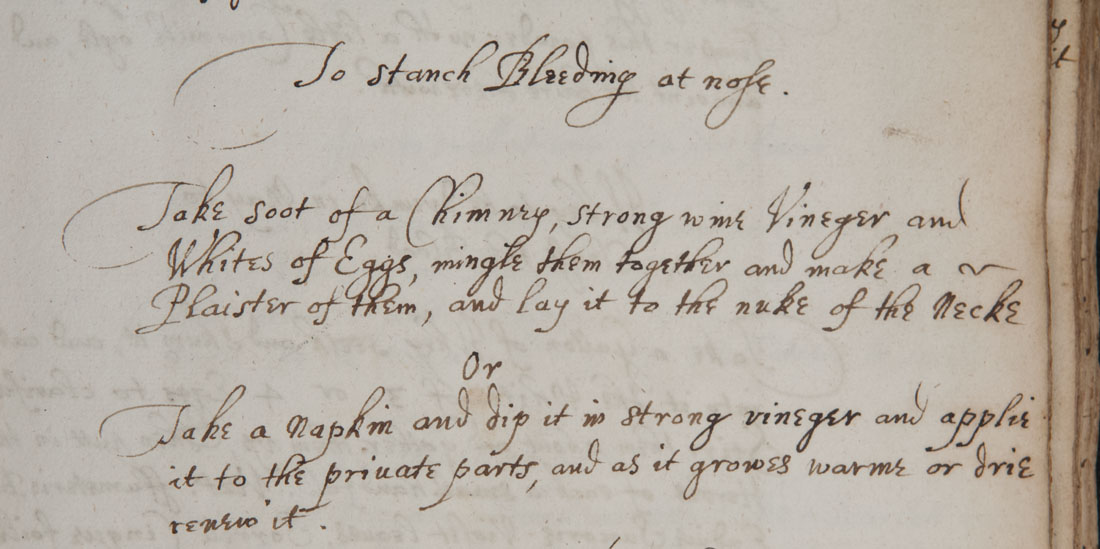 """To staunch bleeding"" from Recipe book of Sydney Humphryes (Ref.MS0059)"