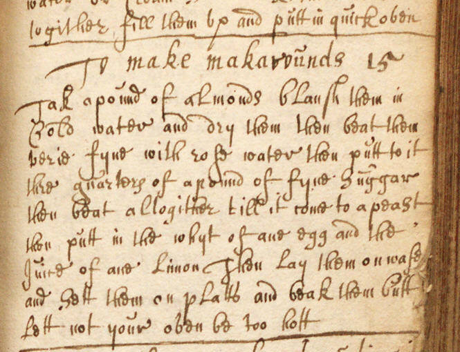"""To Make makarrunds"" from Book of ""Receipts"" (Ref.MS0475)"