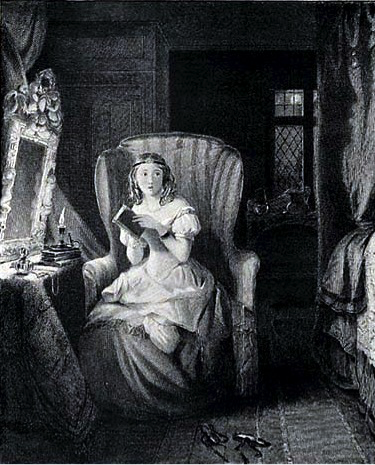 Catherine Morland reading Udolpho, from the 1833 Bentley edition of Jane Austen's Northanger Abbey (Image credit: public domain, digitized by ebooks@Adelaide)