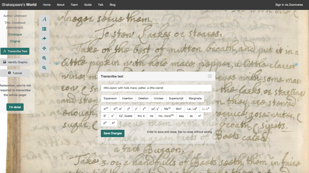 Example of a manuscript transcription page at Shakespeare's World. http://www.shakespearesworld.org/#/