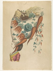 """Fantastic Hairdress with Fruit and Vegetable Motif,"" Anonymous, French, 18th century, Watercolor on canvas laid down on board. Bequest of Rosina H. Hoppin, 1965, acc.no. 65.692.8. Image Credit: Metropolitan Museum of Art."