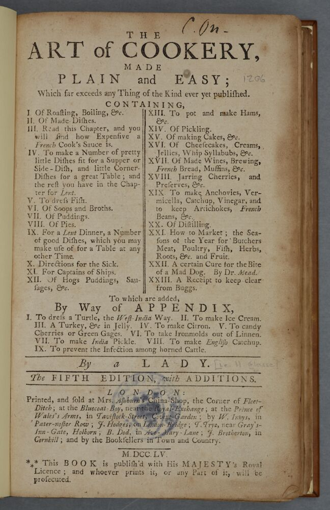 'The Art of Cookery' Hannah Glasse, 1755. Cookery A/GLA. Title page of the 5th edition showing the index and the additional recipes in the appendix.