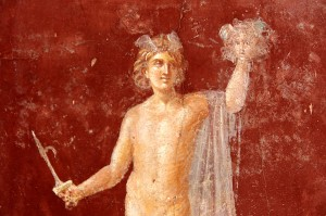 Perseus with the head of Medusa on a Roman fresco at Stabiae. Credit: Amadalvarez, Wikimedia