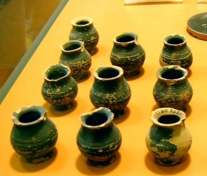 Small jars excavated in the prison in the Athenian Agora, possibly used for the executioner's Hemlock. Author's image, 2006.