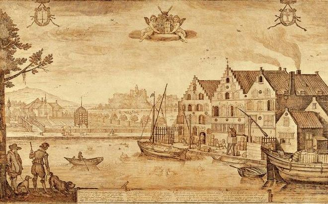"Jacob Adriaensz Matham, ""View of the De Drie Leliën Brewery at Haarlem and of Velserend Manor, Owned by Johan Claesz van Loo"" (1627), Frans Hals Museum, Haarlem."