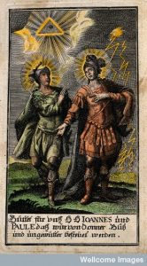 Saints John and Paul as protectors against storm, thunder an Credit: Wellcome Library, London.