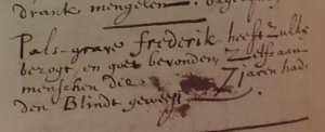 University Library Leiden, MS PBL3603, p. 32: Count Palatine Frederick approved of the recipe.