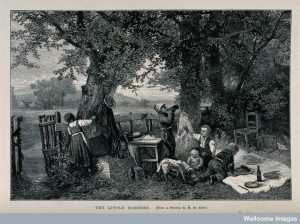 A group of children are stealing food from a picnic they have found under a tree. Credit: Wellcome Library, London.