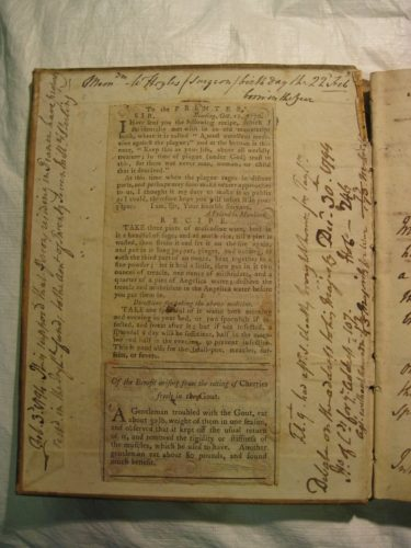 Newsprint in 18th C Manuscript Recipe Books