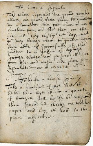 Folger Shakespeare Library, Manuscript v.a. 456, fol. 28r.