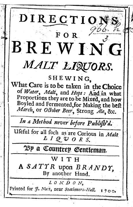 How-To: title page from Jeffrey Boys's Directions for Brewing Malt Liquors (1700).