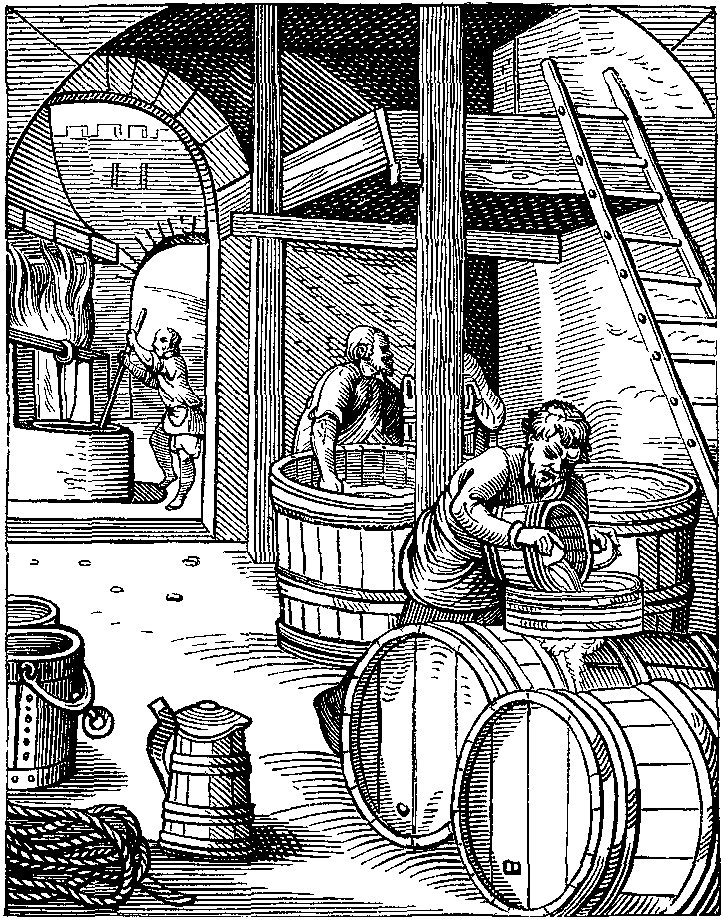 Barreling Along: 'The Brewer', designed and engraved by Jost Amman in the sixteenth century. Were early modern beer producers pushing for alcoholic strength or sweetness and body? Wikimedia Commons.