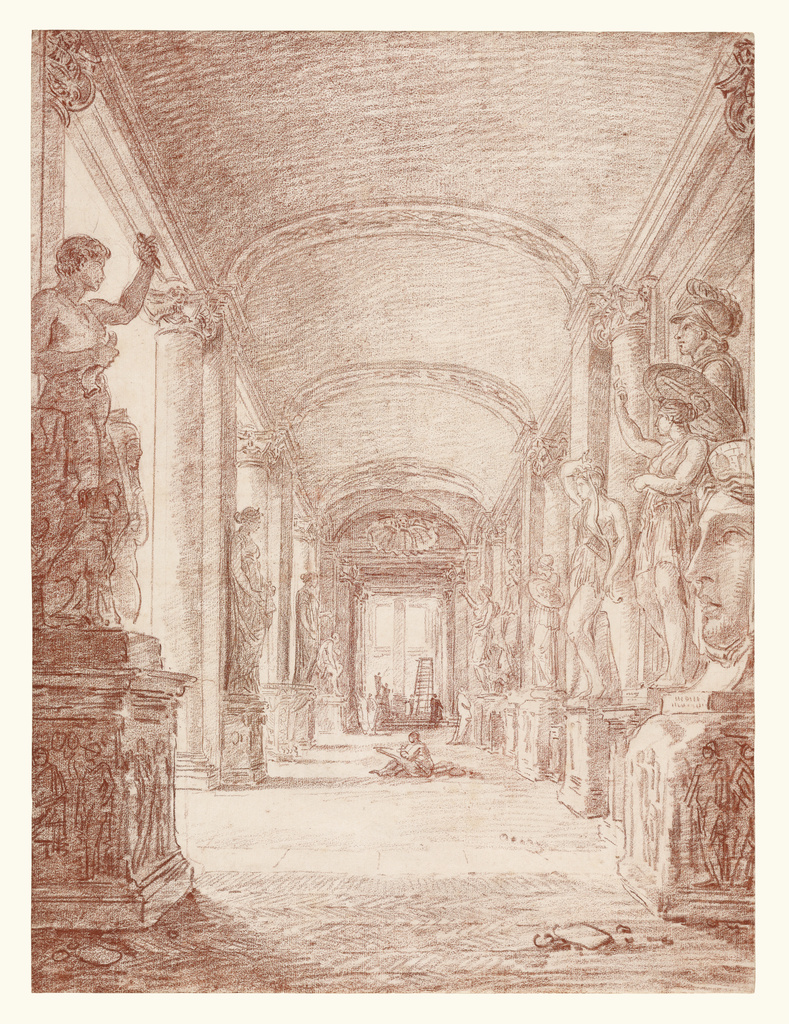 Hubert Robert (French, 1733 - 1808) A Draftsman in the Capitoline Gallery, about 1765, Red chalk 45.7 × 33.7 cm (18 × 13 1/4 in.) The J. Paul Getty Museum, Los Angeles.