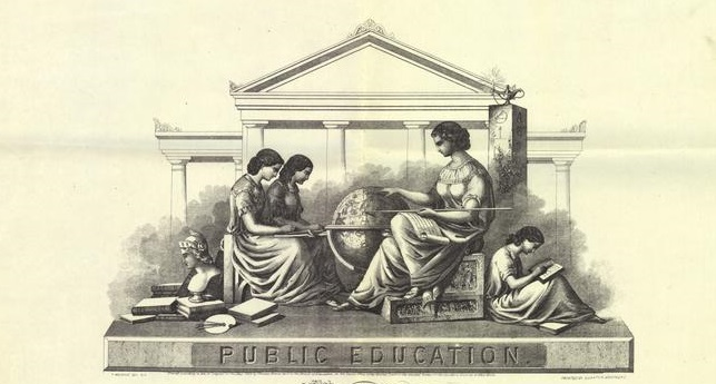 "Detail from ""Testimonial of Merit,"" Public Education, Grammar School for Girls, Burnton Brothers, lithographers (New York: 1863) Lithf Burn Melv Publ 148821, American Antiquarian Society. Image courtesy of the American Antiquarian Society's Digital Assets Archive Portal."