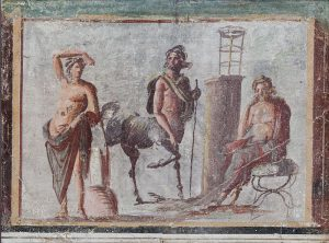 Fresco from Pompeii of Apollo as god of medicine, Chiron the Centaur, and Asclepius. Several medieval herbals invoke Apollo as the bestower of medicine on mankind, through Chiron and Asclepius.