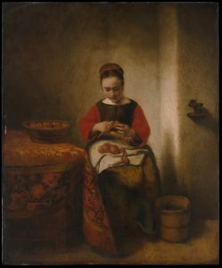 "Nicolaes Maes, ""Young Woman Peeling Apples,"" ca. 1655, The Metropolitan Museum of Art, Bequest of Benjamin Altman, 1913, http://www.metmuseum.org/art/collection/search/436934. Source: Metropolitan Museum of Art"
